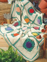 """Free pattern for """"Grandmothers Zinnia Afghan""""!"""