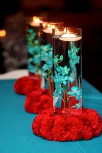 cylinder with turquoise water and floating candles