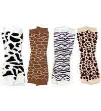 My Little Legs Animal print 4 pack of leg warmers in cow, giraffe, zebra & leopard for babies, toddler & child