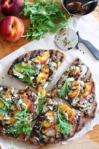 Rustic grilled peaches pizza