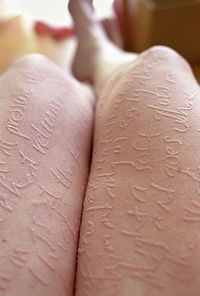 Artist Ariana Page Russell has dermatographia, a condition in which lightly scratching your skin causes raised, red lines where you've scratched. It affects roughly 5 percent of the population, but Ms. Russell is the only one who has turned her puff...