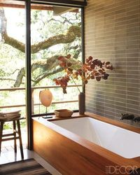 bath with wooden border