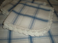 Crochet Edged Dish Cloths - Blue and White