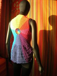 Rainbow Waves Circle Crochet Vest With Flower Center