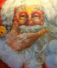 Santa With Snowflakes - NEW! My childhood friend is a fabulous artist!