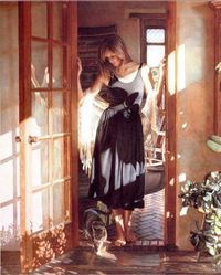 Cat and people paintings. Steve Hanks - Santa Fe Sun.