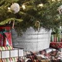 Instead of a tree skirt use a galvanized bucket