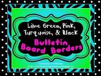 8 Bulletin Board Borders Lime Green Turquoise Pink