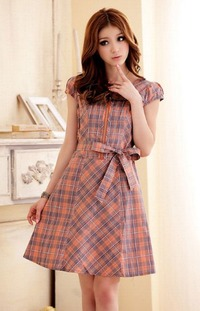 Classic plaid dress with cute bow belt! $21.99