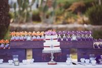 Purple wedding desert table