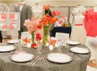 Grey tablecloth with coral flowers