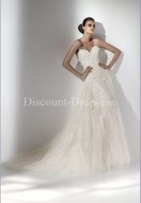 A-Line Sweetheart Floor Length Attached Tulle Embroidery Wedding Dress style 10176 - - US$279.99