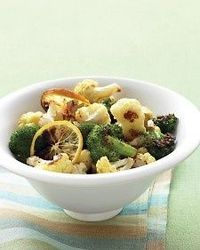 Roasted Broccoli and Cauliflower with Lemon and Garlic - low carb