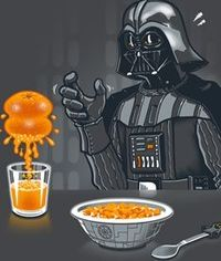 Vader always starts the day right by squeezing some fresh OJ.