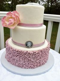 Dusty Pink Ruffles Wedding Cake