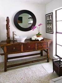 antique console table as vanity