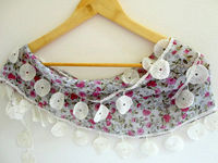 cotton women scarves with lace new design pink flowers, Turkish cotton Scarves, fashion scarf, floral scarf, gift for her