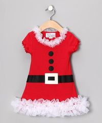 Take a look at this White Mrs. Claus Ruffle Dress - Infant, Toddler & Girls by All Decked Out: Kids' Apparel & Accents on #zulily today!
