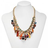 This bohemian style bib necklace features a chunky gold curb chain accented by a cluster of larger charms,decorative crystal beads and teardrops.The Beaded Multi Charm Glass Crystal Bib Necklace is crafted in gold plated alloy with a lobster claw clasp.