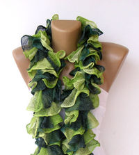 Knit Ruffled Scarf,green scarf,2013 NEW TREND SCARF,accessories,gifts for her,fashion,long scarf