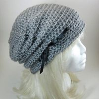The Victorian Slouch Hat in Grey Womens Crocheted Hat by mairwear, $20.00